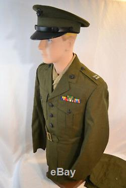 Post Wwii Vintage Usmc Us Marine Corps Captain Uniform Tunic Shirt Pants Hat