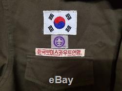RARE Vintage KOREA BOY SCOUT Shirt Jacket + Pants Trousers Uniform Clothes Set