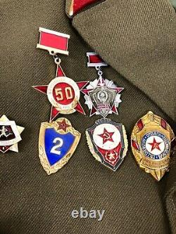 Rare Soviet Russian MVD VV Internal Troops Uniform Badges Shirt Tie Pants