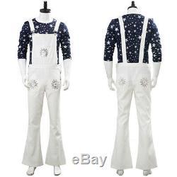 Rocketman Cosplay Elton John Costume White Bib Pants Adult Suit Uniform Shirt