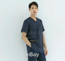 SET Men Uniform PT OT Scrubs Surgical Social Care Hospital Staff Shirt Pants