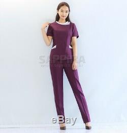 SET Pants Zipper up Uniform Round Neck Nurse PT OT Therapist Rehab Flight Crew