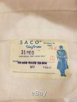 Saco Usmc White Dress Coat, Pants And Shirt Vietnam Era Uniform (b4#105)