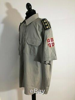Serbian Army Military Police Officer Uniform Beret Shirt with Patch Ranks Pants