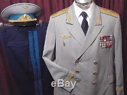 Soviet Russian Air Force General Summer Dress Uniform Cap, Tunic, Pants, Shirt