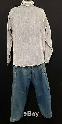 The Shawshank Redemption (1994) Prison Uniform Striped Shirt #39037 Denim Pants