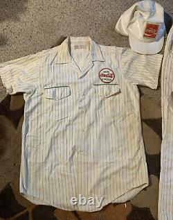 True Vtg 70s Coca Cola Delivery Uniform Shirt & Pants Coke Drink In Bottle Hat