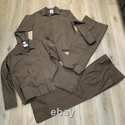 UPS Uniform Brown L/S Button XL Shirts & sz 4 reg 33 Pants halloween costumes