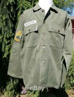 US Army HBT Fatigue Shirt & Pants 13 Star Buttons Original Vtg WWII Era 1940's