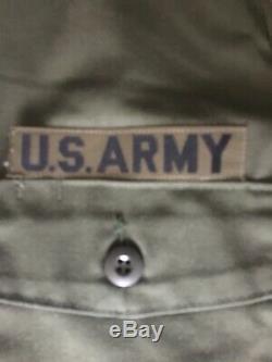 US Army Olive Green Vietnam Utility Uniform Fatigues OG-507 Pants And Shirt Good
