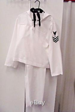 US NAVY uniform shirt 44R white sailor long sleeve, Pants 36x36Costume Theater