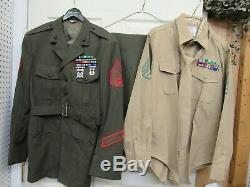 USMC Alpha Dress Uniform Jacket Coat 46R w Ribbons Trousers Pant Khaki Shirt Tie