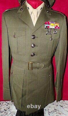 USMC CAPTAIN'S GREEN JACKET WithAWARDS, PANTS, AND SHIRT SET