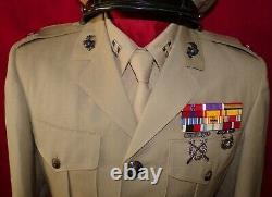 USMC CAPTAIN'S TROPICAL TAN JACKET WithAWARDS, PANTS, SHIRT & TIE SET