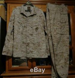 USMC MARPAT DESERT TAN Combat SHIRT PANT SET MCCUU X LARGE LONG ISSUED XLL