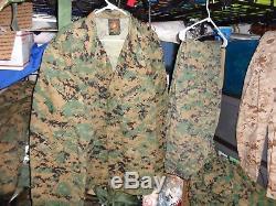 USMC MARPAT Uniform WOODLAND Combat Shirt & Pants size X LARGE Regular XLR USED