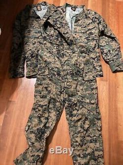 USMC MARPAT Uniform WOODLAND Marpat 2 Shirt 1 Frog Pant LARGE LONG LL ISSUED