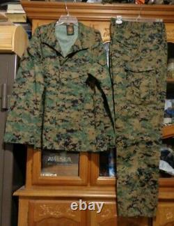 USMC MARPAT Uniform WOODLAND SET Combat Shirt Pant LARGE LONG LL NWOT