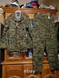 USMC MARPAT Uniform WOODLAND SET Combat Shirt Pant LARGE X LONG LXL NEW WITH TAG