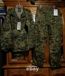 USMC MARPAT Uniform WOODLAND SET Combat Shirt Pant MEDIUM LONG NEW WITH TAG