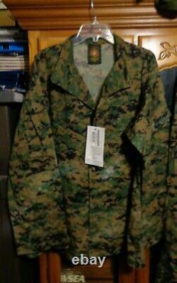 USMC MARPAT Uniform WOODLAND SET Combat Shirt Pant MEDIUM REGULAR NEW WITH TAG