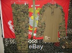 USMC MARPAT Uniform Woodland Combat FROG Shirt, Pants & Belt Size Medium NEW