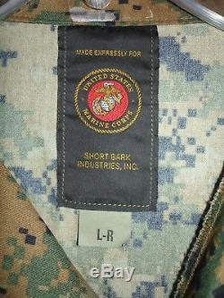 USMC MARPAT Uniform Woodland Combat Shirt & Pants in size Large Regular NEW