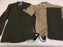 USMC Marine Corp Alpha Green Jacket Shirt Pant Trouser 32 Uniform Size 40 R LCPL