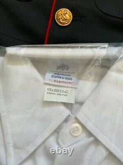 USMC Marine Corps Dress Blues Tunic Jacket, Pants, Shirt, Visor Cap Size 38XS
