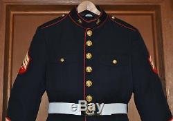 USMC US Marine Corps Dress Blue Uniform Sergeant Sgt. Size 44 Lg Shirt Tie Pants