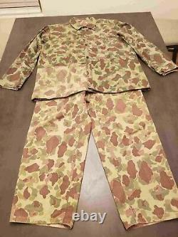 USMC WWII P44 Frogskin Reversible Camouflage Shirt & Pants Set Vintage XL MINTY