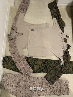USMC issued combat shirt And Pants Woodland And Desert Large