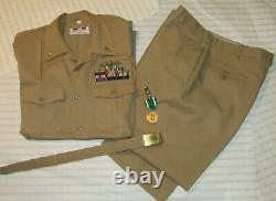 USN 2000s SERVICE KHAKI UNIFORM! US NAVY SHIRT/PANTS/BELT/RIBBONS/PINS! SIZE L