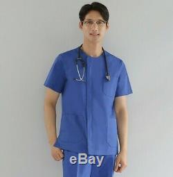 Uniform Set Simple Round neck Zipper Shirt+Pants OT PT Surgical Uniform Hospital