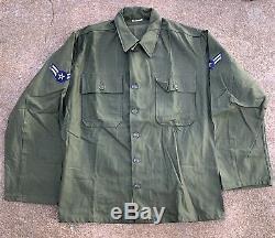 VIETNAM ERA NEW Vtg 1961 Sateen Olive Green OG107 Shirt & Trousers Pants MEDIUM