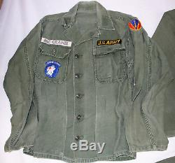 VIETNAM WAR EARLY US ARMY OG 107 NAMED UTILITY SHIRTS & 1st PATTERN PANTS