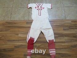 VTG 1930s/40s Flannel BASEBALL UNIFORM Bowlus School Supply ELKS Shirt34 Pants30