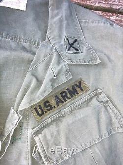 VTG 60s Vietnam US Army Tropical Combat Shirt Pants Jacket Medium OG 107 34x33