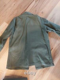 VTG US Army Ranger OG 107 Sateen Fatigue Shirt 1970s with Patches and Pants
