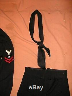 VTG. US Navy Man's Wool pants-Shirts-jumper-coat-tie Blue military Uniform 7pcs
