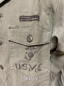 Vietnam USMC Sateen OG 107 Shirt/Pants/Cap Set Type 1 SZ 16 1/2 X 34, 36 X 33