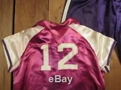 Vintage 1930s Dwight Basketball Warm-up Uniform Satin Pink Shirt withPurple Pants