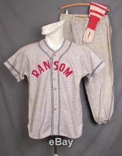 Vintage 1940s Ransom Wool Flannel Baseball Uniform Shirt/Pants/Socks Scranton, PA