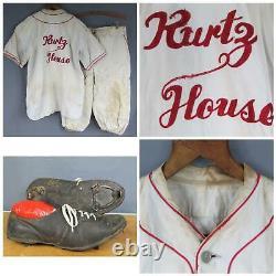Vintage 1950s Kurtz House Baseball Uniform Sun Collar Shirt Pants withCleats PA