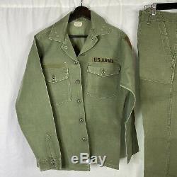 Vintage 1950s US Army Vietnam War Pants Shirt Large Set Starched 1st Division