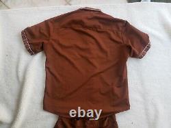 Vintage 1983 McDonalds Striped Brown Uniform Work Shirt Pants Adult Size S/M