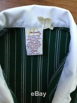Vintage 1983 McDonalds Uniform Green Polyester Sz 10 Pants, Shirt, Apron