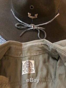 Vintage Boy Scout Lace Up Pants, Shirt, Neckerchief, Campaign Hat- 1920's
