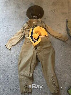 Vintage Boy Scout Lace Up Pants, Shirt, Neckerchief, Campaign Hat- 1920's