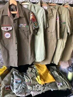 Vintage Boy Scout Master Uniform Shirts, Pants, Shorts. Lot of 26